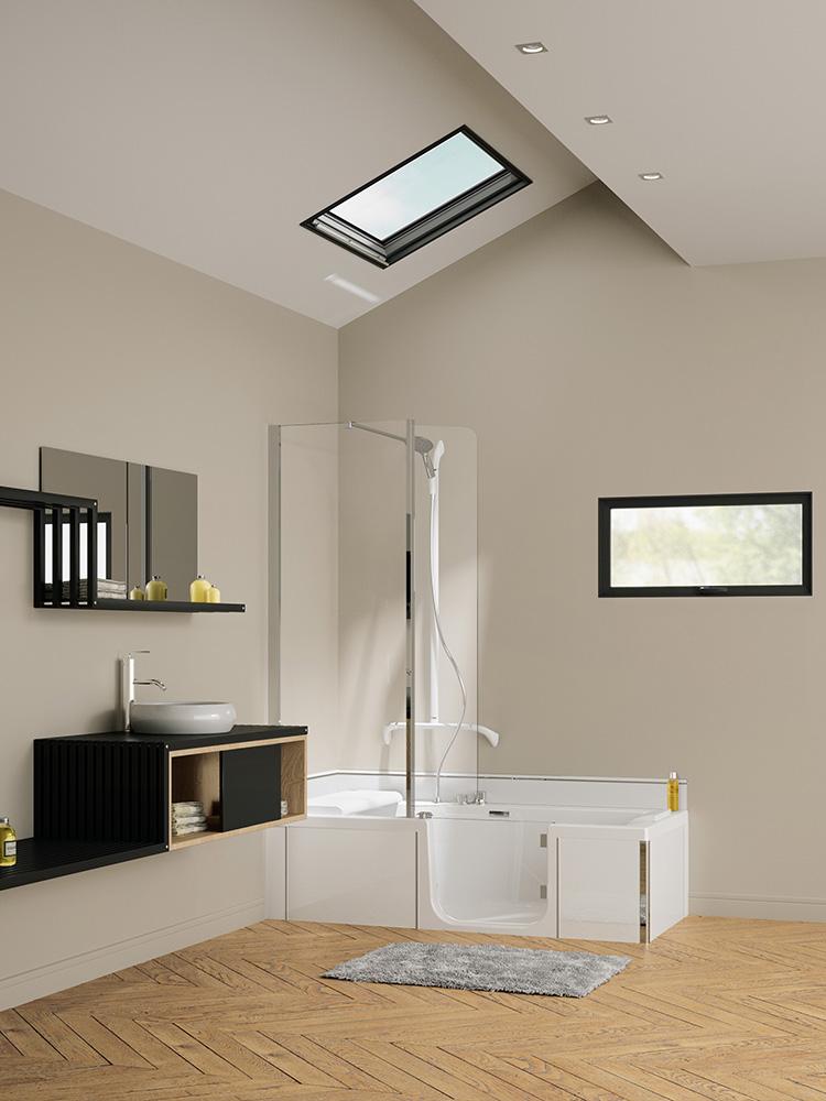 Le bain / douche pratique et facile d'accès de Kinedo