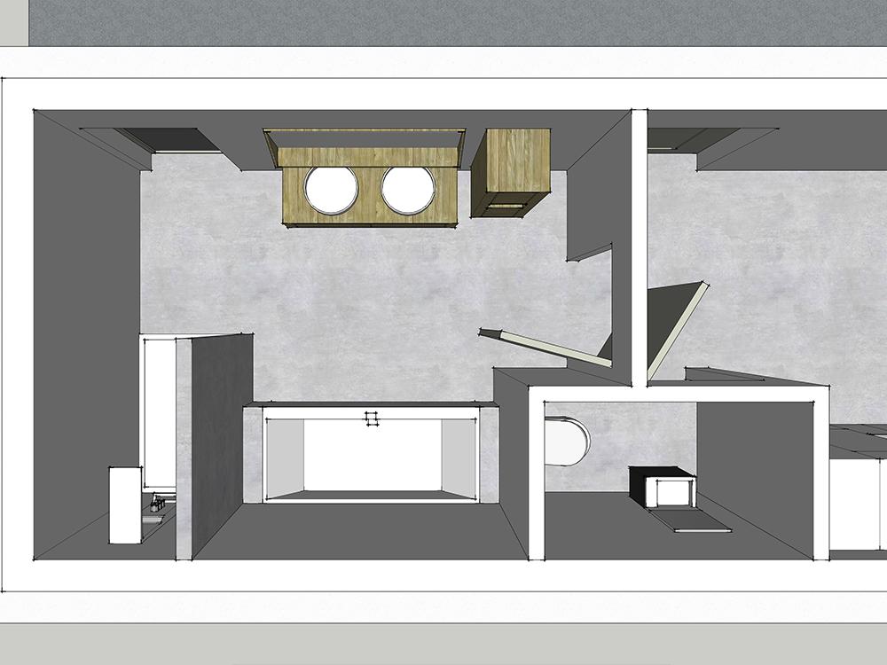 Plan d'aménagement d'une grande salle de bains en 3D