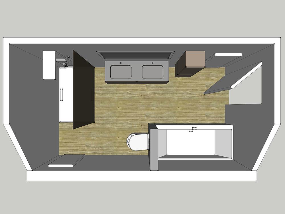 Plan d'aménagement d'une moyenne salle de bains en 3D