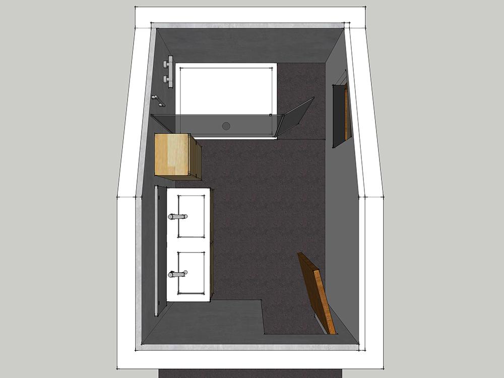 Plan d'aménagement d'une petite salle de bains en 3D