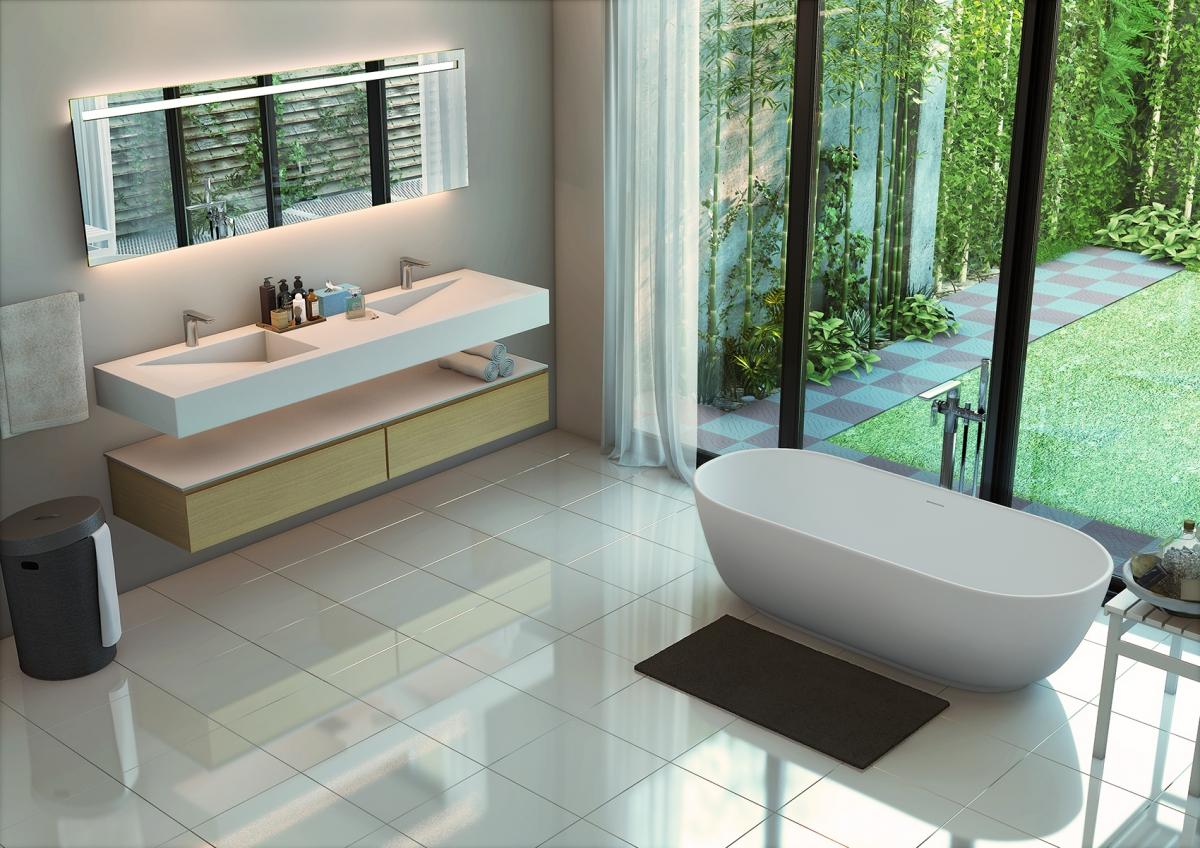 Robinetterie Graff, table vasque et baignoire Pure White  - AQUASENTO