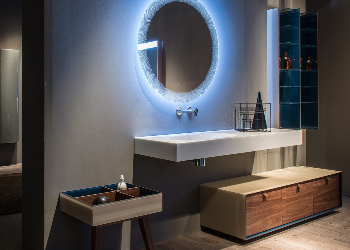 Mobilier de salles de bains avec miroir arrondi dama for Mobilier de bain