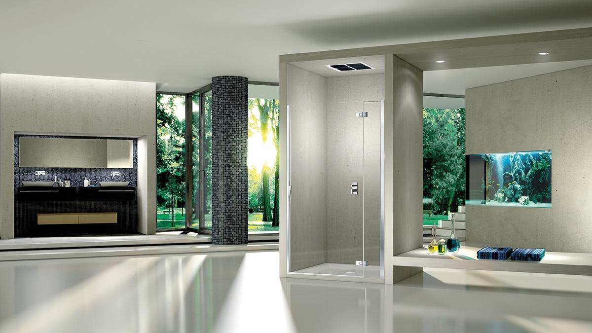 Porte battante de douche pura r 5000 duka induscabel for Porte battante cuisine