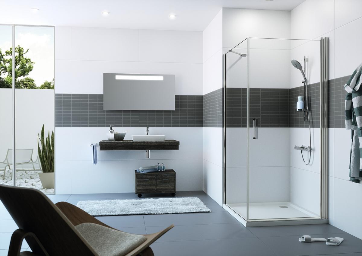 porte battante de douche classics 2 huppe induscabel salle de bains chauffage et cuisine. Black Bedroom Furniture Sets. Home Design Ideas