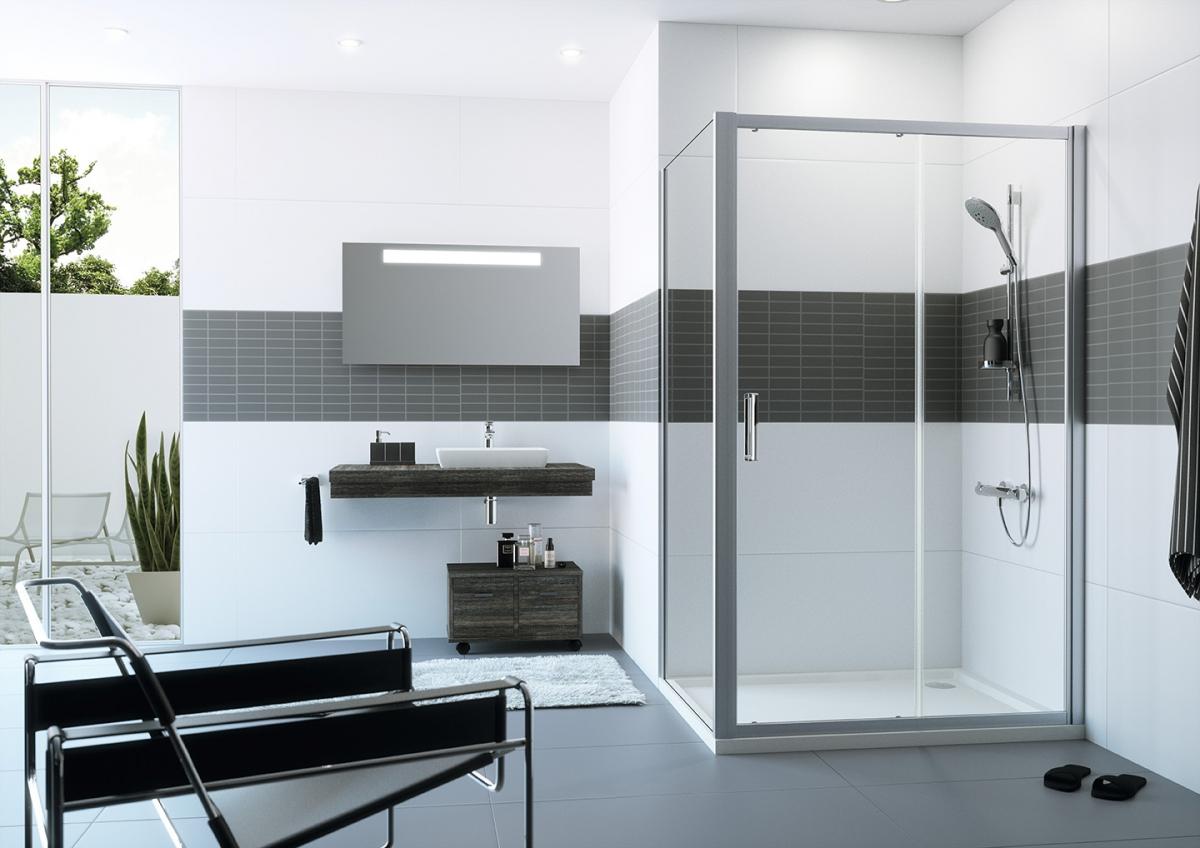 Porte battante et paroi de douche classics 2 huppe induscabel salle de b - Porte battant cuisine ...