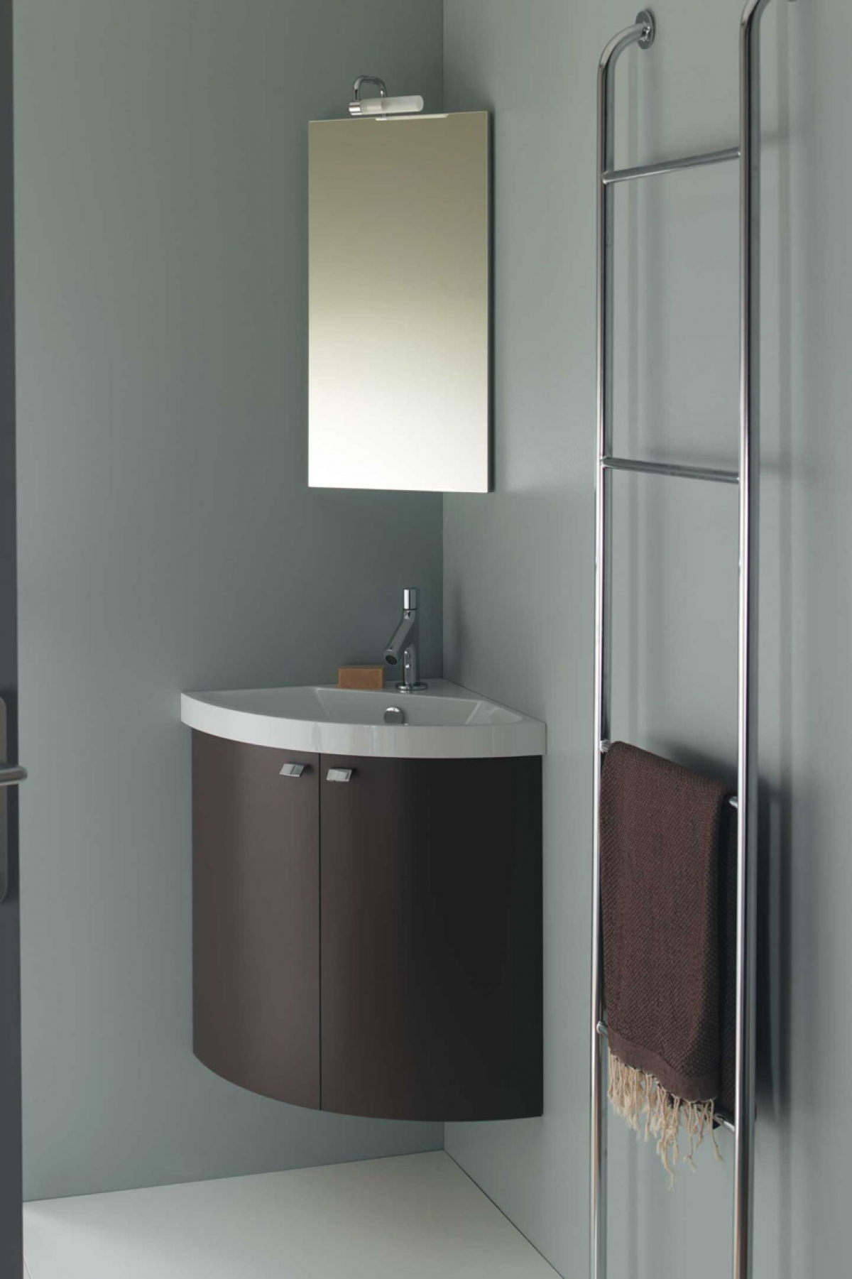 Ensemble lave mains et miroir pop angle sanijura Meuble lavabo angle