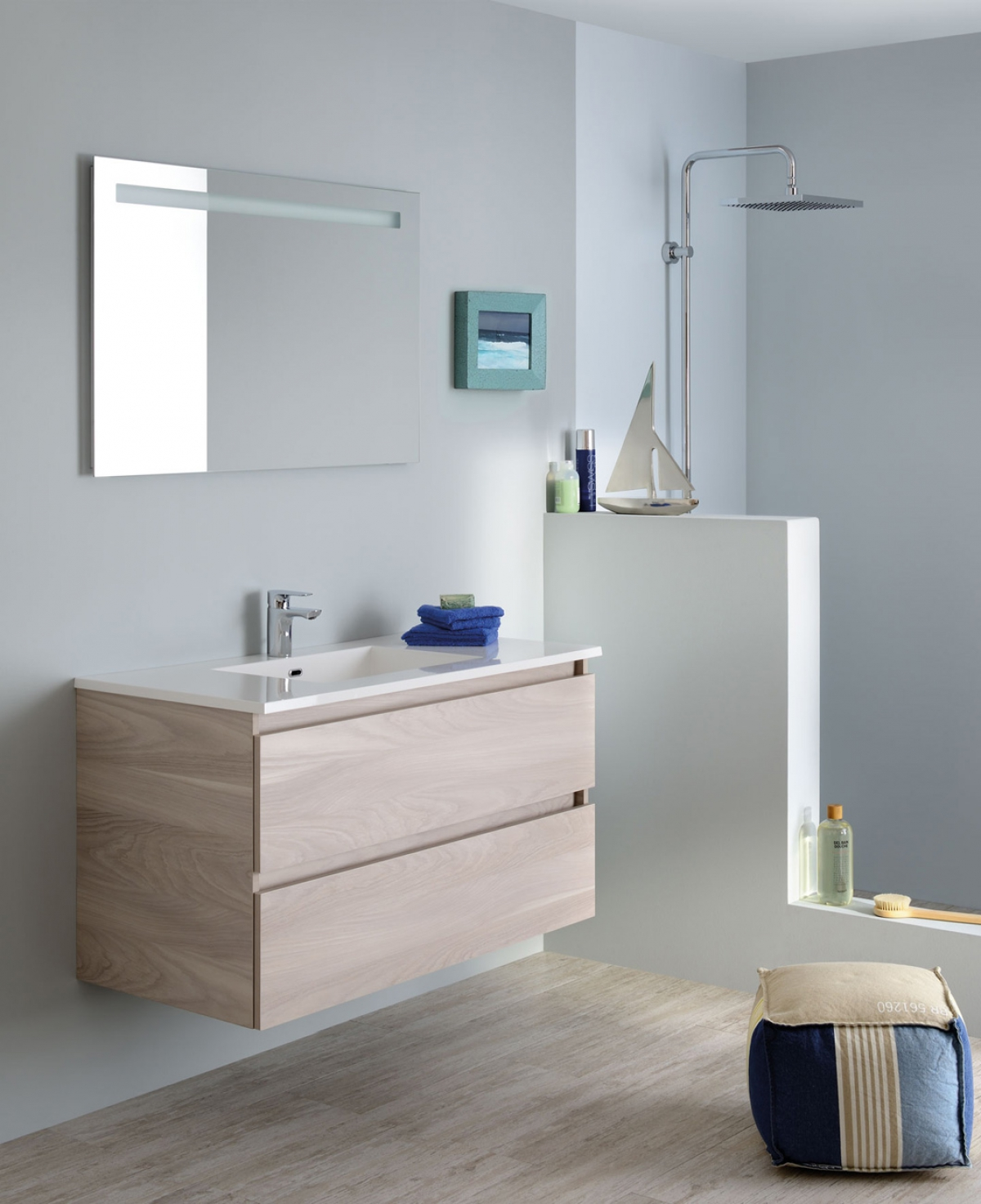 Meubles et table vasque sobro sanijura induscabel for Table salle de bain