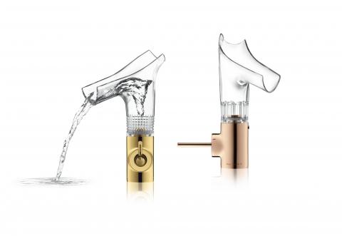 Mitigeur lavabo transparent aux détails rose doré ou doré Starck V - AXOR