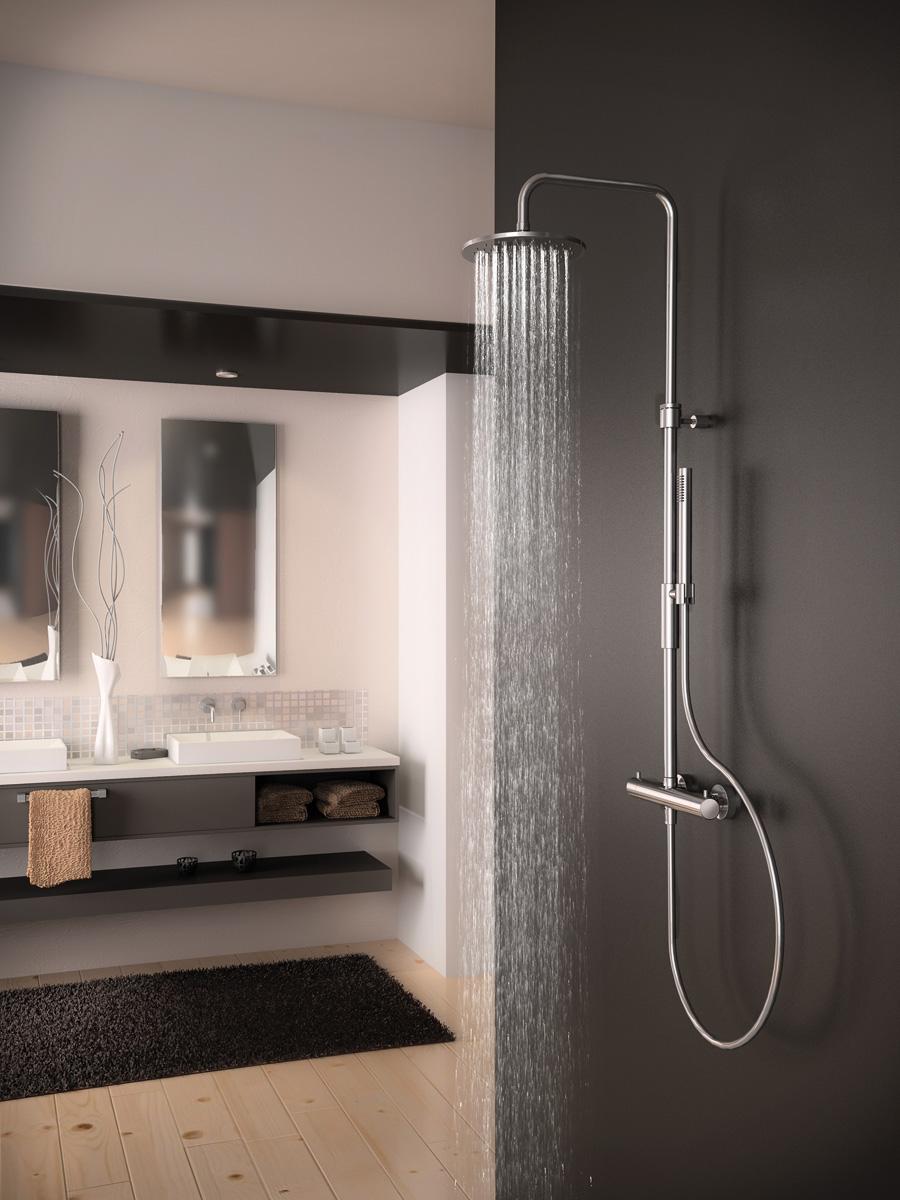 Set de douche : rampe de douche et douchette ZENID